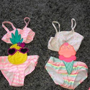 Two toddler bathing suits & cover up